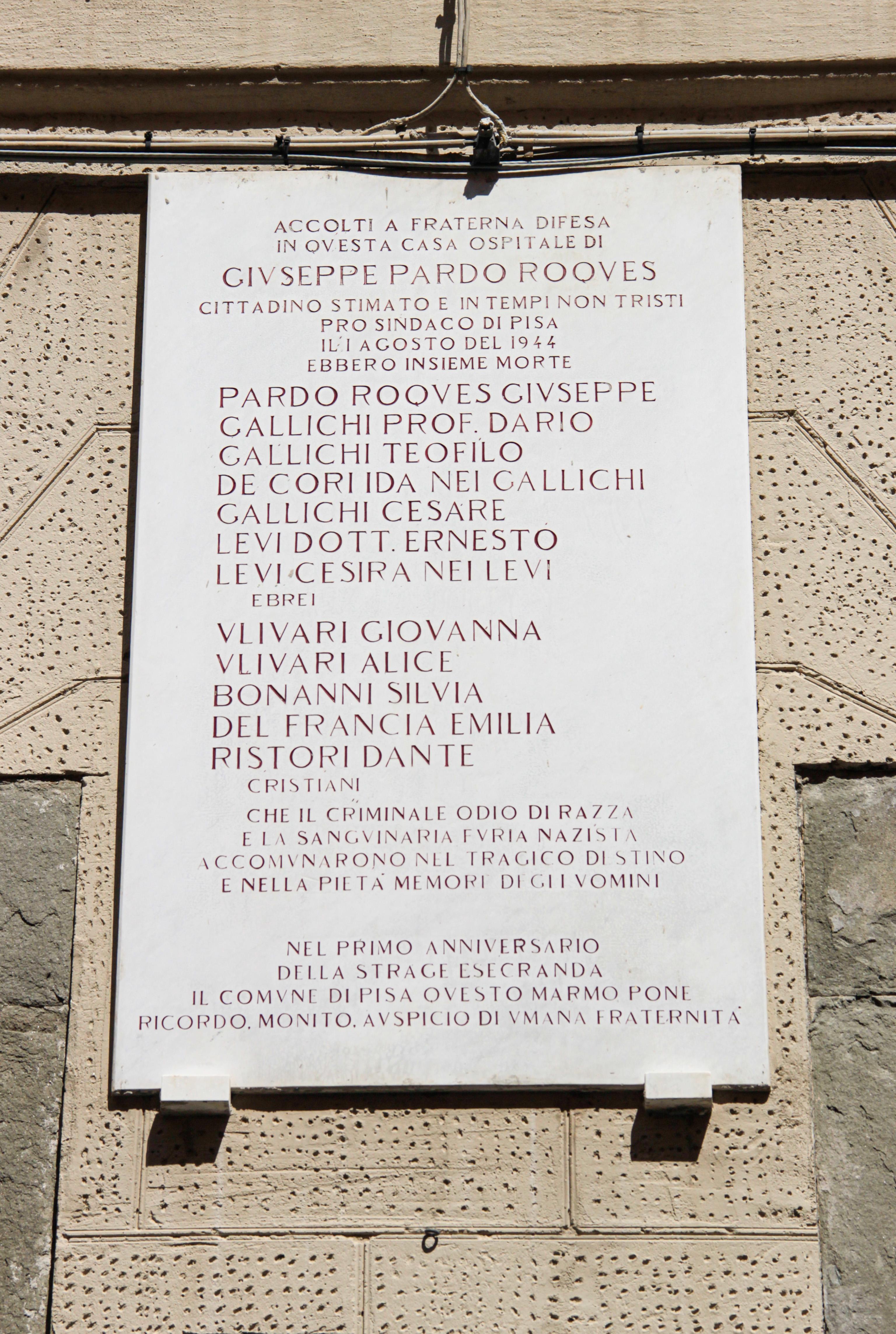 Via S. Andrea, numero 22 lapide - Casa Pardo Roques (G. Bettini, Comune di Pisa)