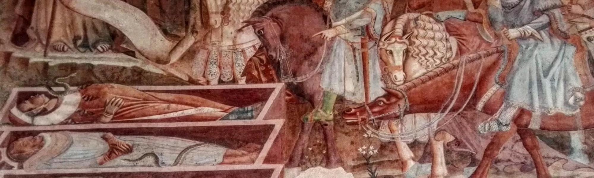 Scena dell'incontro dei tre vivi e i tre morti, Trionfo della Morte di Buonamico Buffalmacco (L. Corevi, Comune di Pisa)