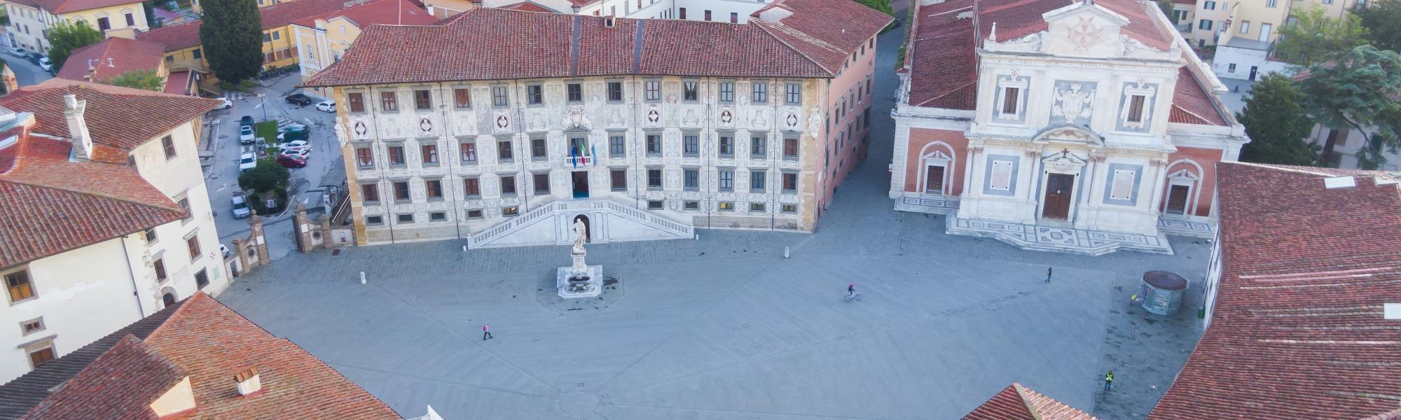Veduta aerea Piazza dei Cavalieri - foto con drone (F. Muzzi)