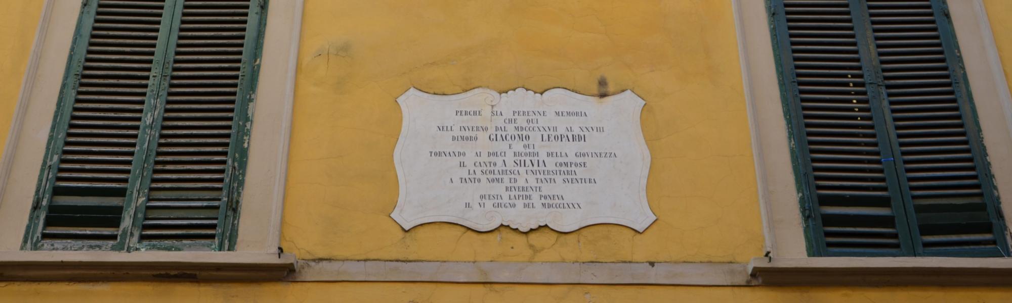 Epigrafe  Leopardi, via della Faggiola 19 (L. Corevi, Comune di Pisa)
