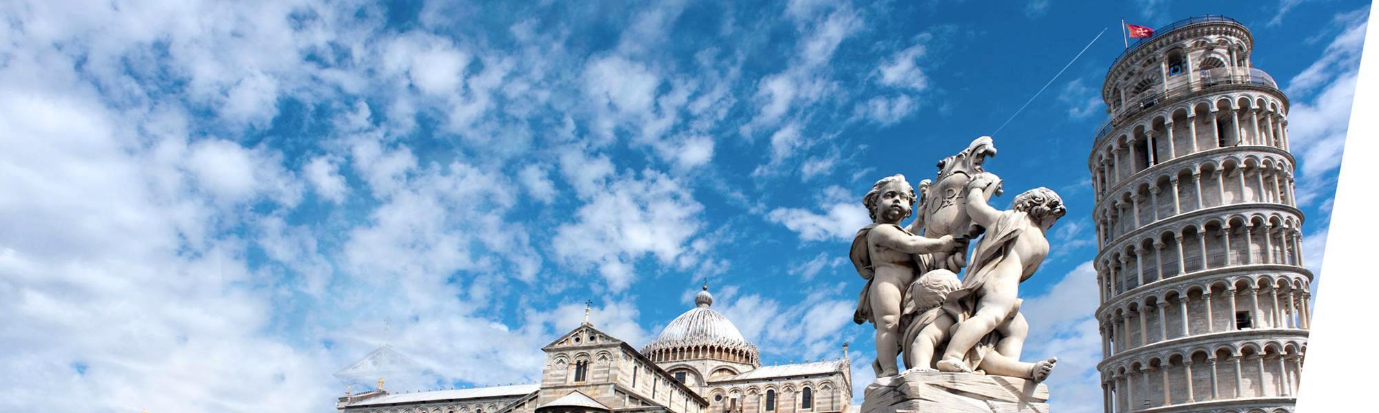 Cattedrale, Fontana dei Putti e Torre pendente di Pisa